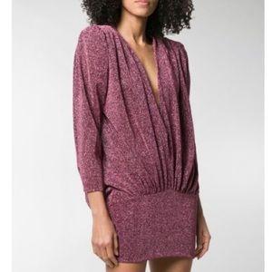 ATTICO Metallic Plunge Draped Purple Mini Dress